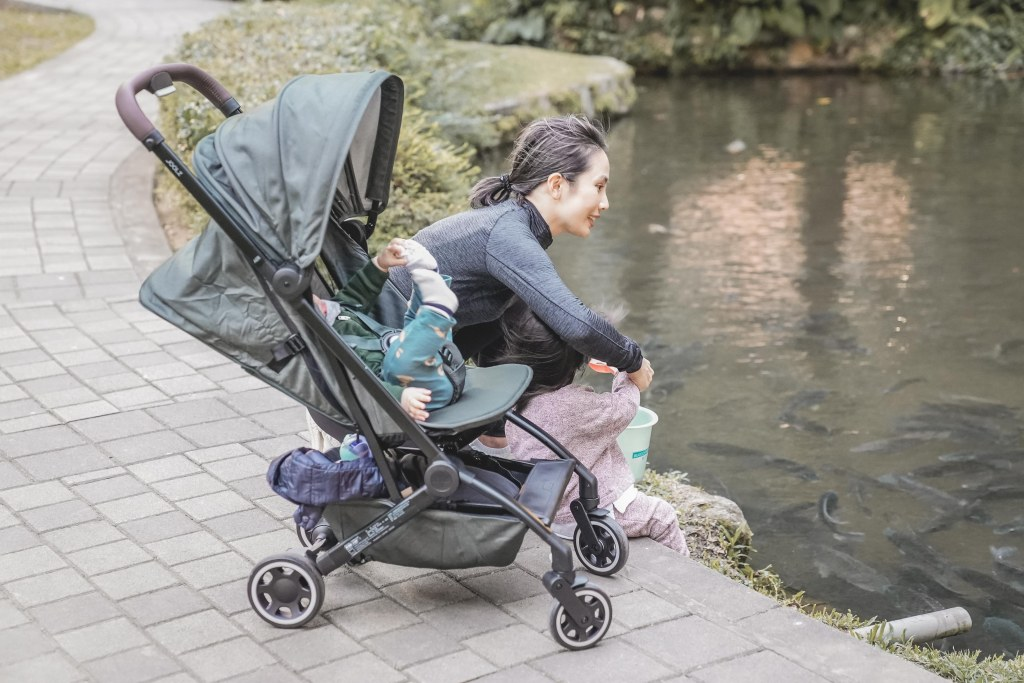 A person pushing a stroller  Description automatically generated