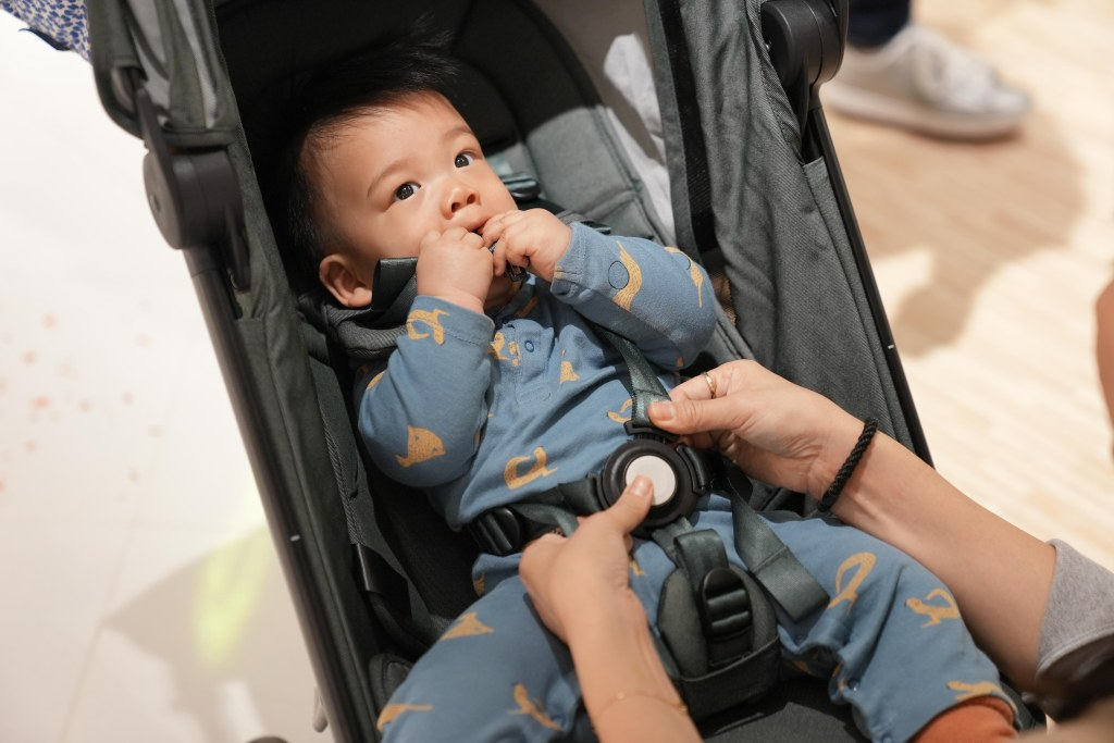 A baby in a car seat  Description automatically generated with medium confidence