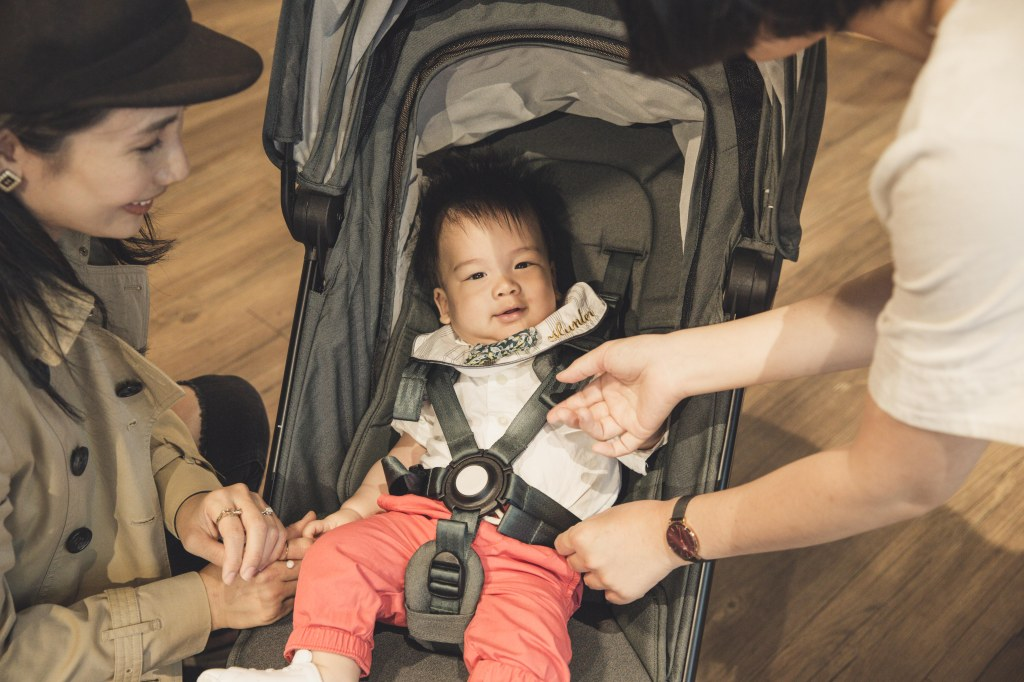 A baby in a stroller  Description automatically generated with medium confidence